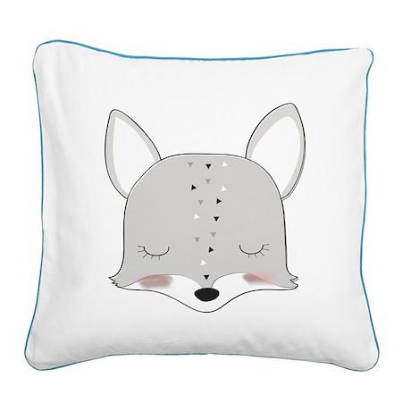 Cartoon Animals Fox Square Canvas Pillow