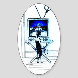 Tv cat Oval Sticker
