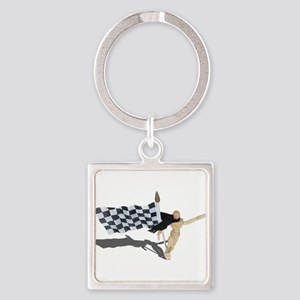 Waving Checkered Flag Keychains