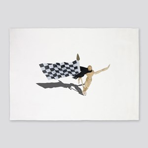 Waving Checkered Flag 5'x7'Area Rug