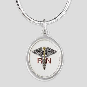 RN Medical Symbol Silver Oval Necklace