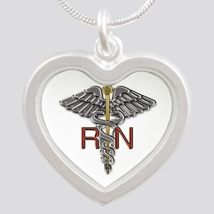 RN Medical Symbol Silver Heart Necklace