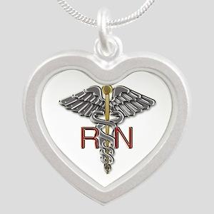 RN Medical Symbol Silver Heart Necklace