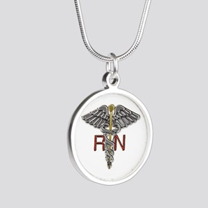 RN Medical Symbol Silver Round Necklace
