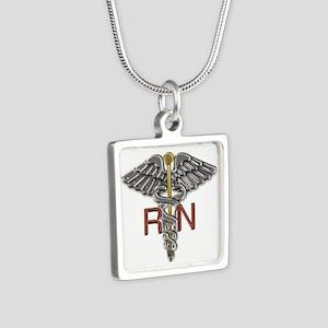 RN Medical Symbol Silver Square Necklace