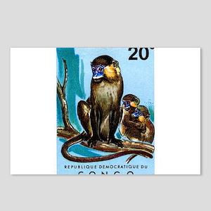 1971 Congo Moustached Monkeys Postage Stamp Postca