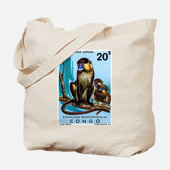 1971 Congo Moustached Monkeys Postage Stamp Tote B