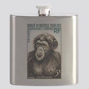 1955 French West Africa Chimp Postage Stamp Flask
