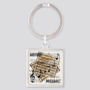 Vintage Music Square Keychain