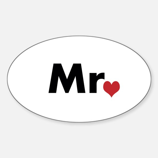 Mr and Mrs matching hats Sticker (Oval)