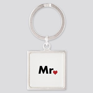 Mr and Mrs matching hats Square Keychain