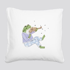 Music Frog Square Canvas Pillow