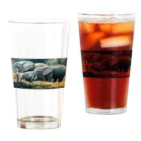 Elephant Family Drinking Glass