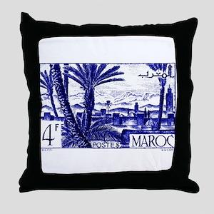 1947 Morocco Marrakesh Postage Stamp Throw Pillow