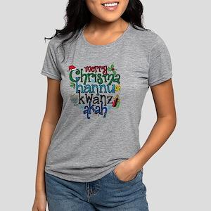 Merry Chrismahannukwanzak Womens Tri-blend T-Shirt