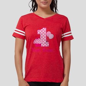 1st Birthday Pink Cupcake Womens Football Shirt