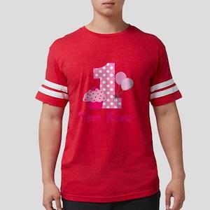 1st Birthday Pink Cupcake Mens Football Shirt