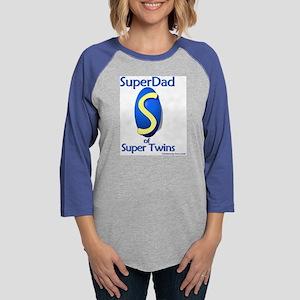 SuperDad_of_Super_Twins.png Womens Baseball Tee