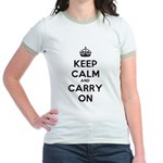 Keep Calm And Carry On Jr. Ringer T-Shirt