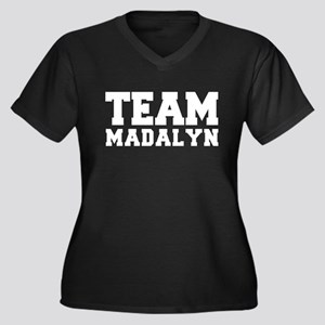 TEAM MADALYN Women's Plus Size V-Neck Dark T-Shirt