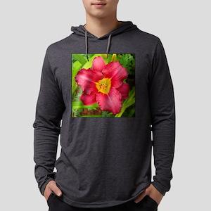 Crimson Daylily Mens Hooded Shirt