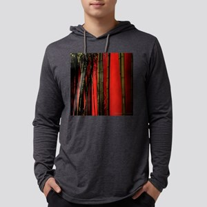Red Bamboo Wall 11x11 Pillow Mens Hooded Shirt