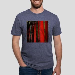 Red Bamboo Wall 11x11 Pillo Mens Tri-blend T-Shirt