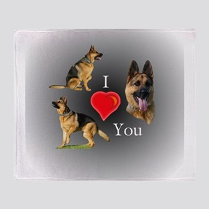 I Love You German Shepherd Throw Blanket