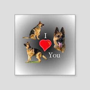 "I Love You German Shepherd Square Sticker 3"" x 3"""