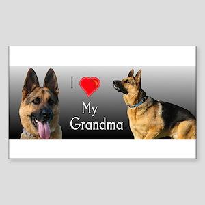 I Love Grandma German Shepherd Sticker (Rectangle)