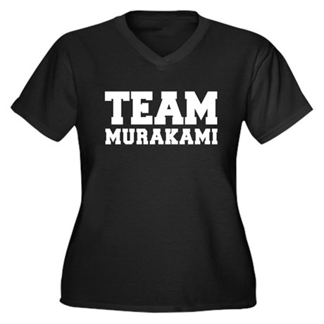 TEAM MURAKAMI Women's Plus Size V-Neck Dark T-Shir