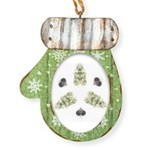 Feathered Greenery Mitten Ornament