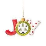 Feathered Greenery Joy Ornament
