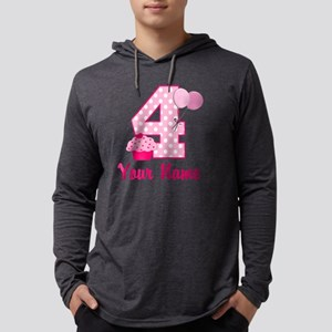 4th Birthday Pink Cupcake Mens Hooded Shirt