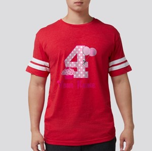 4th Birthday Pink Cupcake Mens Football Shirt