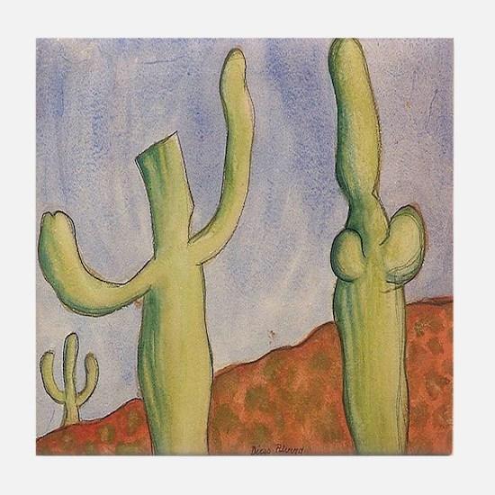 Diego Rivera Desert Cactus Art Tile Coaster
