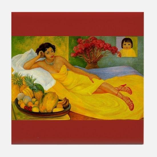 Diego Rivera Art Tile Coaster Portrait Elena