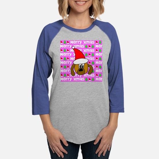 tiles_christmasdog2 Womens Baseball Tee