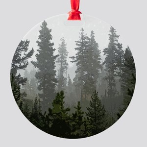 Misty pines Round Ornament