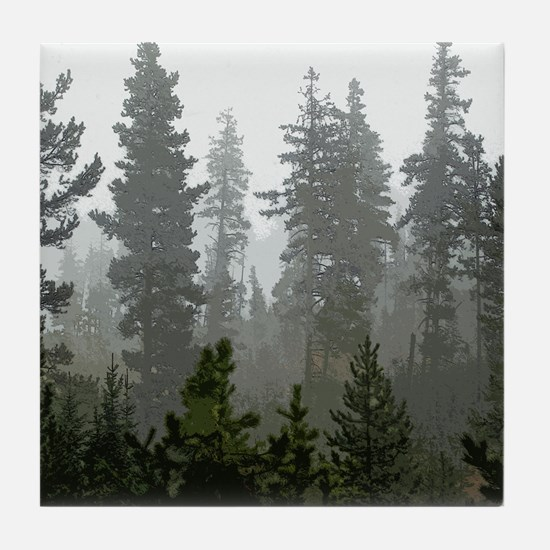 Misty pines Tile Coaster