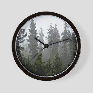 Misty pines Wall Clock