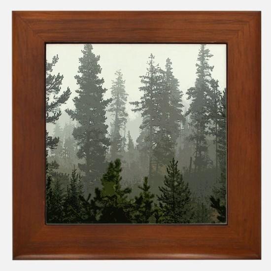 Misty pines Framed Tile