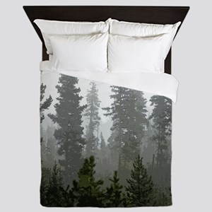 Misty pines Queen Duvet