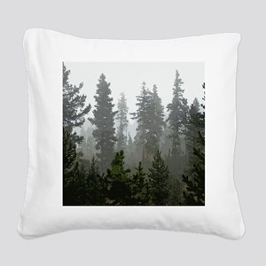 Misty pines Square Canvas Pillow