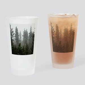 Misty pines Drinking Glass