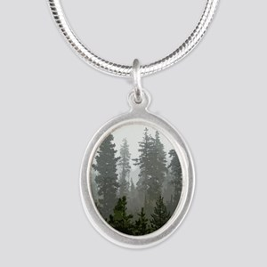 Misty pines Silver Oval Necklace