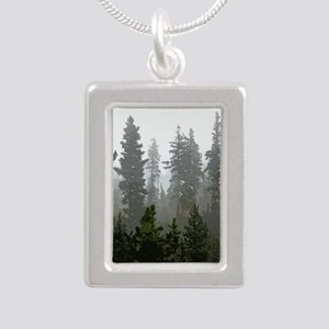 Misty pines Silver Portrait Necklace