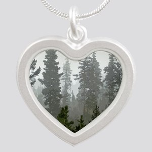 Misty pines Silver Heart Necklace