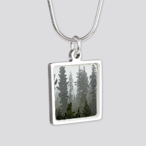 Misty pines Silver Square Necklace