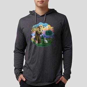 St Francis (f) - Devon Rex cat.p Mens Hooded Shirt